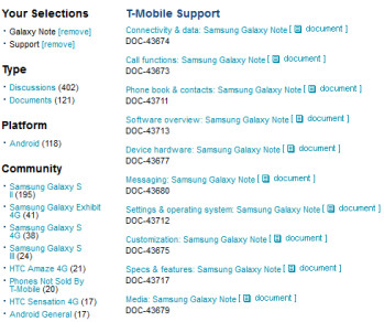 The Samsung GALAXY Note is now listed on T-Mobile's support site