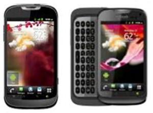 The T-Mobile myTouch (L) and T-Mobile myTouch Q (R)