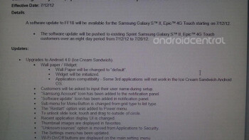 Sprint's Galaxy S II, Epic 4G Touch to get ICS on July 12