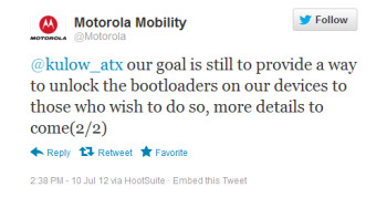 Motorola's tweets say the Motorola ATRIX HD is coming to market with a locked bootloader, but that there will be a way around it