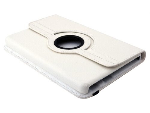 360-degree rotating white leather case