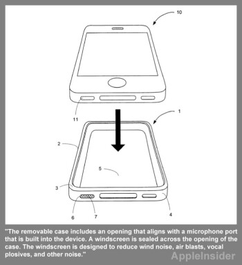 Apple's patent application covers a case with a microphone windscreen