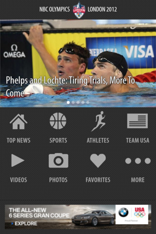 Screenshots from NBC's Olympics apps