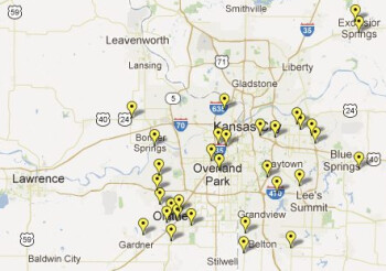 Sprint's current LTE coverage in the Kansas City market