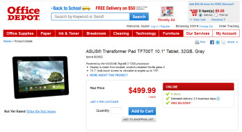 The Asus Transformer Pad Infinity TF700 is now in stock at Office Depot's website
