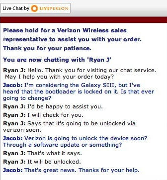 Samsung's less than clear answer (L) and a live chat with Verizon