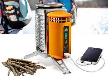 The BioLite Camp Stove can charge your smartphone using sticks