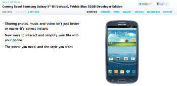 The Samsung Galaxy S III Developer Edition for Verizon