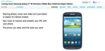 The Samsung Galaxy S III Developer Edition for Verizon