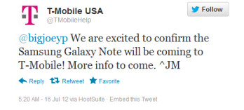 Another confirmation that the Samsung GALAXY Note is coming to T-Mobile
