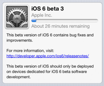 iOS 6 beta 3 is now available as an OTA update for those with beta 2