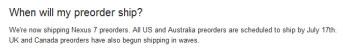 The Google Nexus 7 ships to the U.S. and Australia on Tuesday