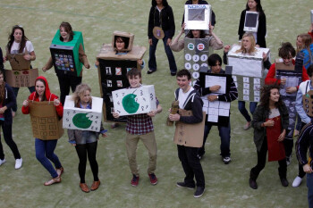 330 people dressed up as mobile phones for charity