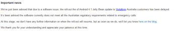 The Android 4.1 update for the Google Nexus S on Vodafone Australia's network has been held upp by regulatory issues