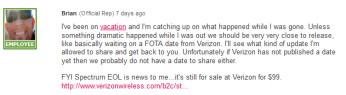 An LG support rep says the Android 4.0 update for the LG Spectrum is awaiting the green light from Verizon