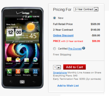 The LG Spectrum is available on contract for $99 from Verizon
