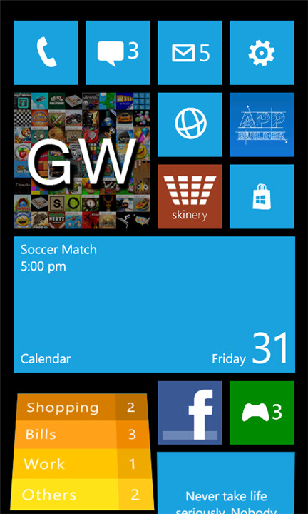 Windows Phone 8 home screen simulator appears in the ...
