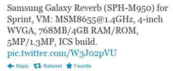 The tweet (since taken down) that leaked the Samsung SPH-M950