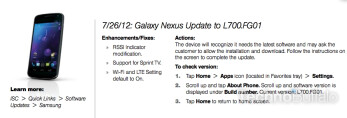 Software update coming for the Sprint Samsung Galaxy Nexus