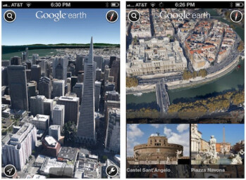 Screenshots from Google Earth 7 for iOS