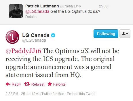 LG Canada: no Ice Cream Sandwich for the Optimus 2X