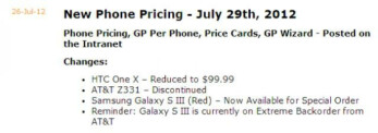 AT&T HTC One X price dropping to $99.99 on Sunday?