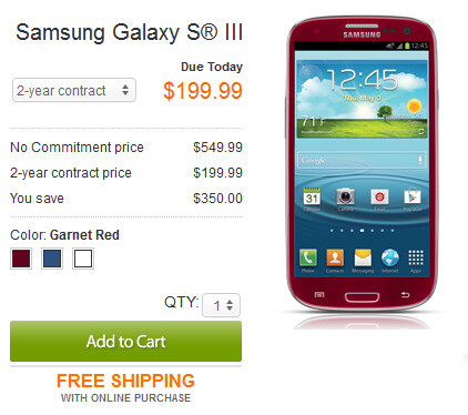 Available from AT&T starting today, the HTC One X for $99.99 (L) on contract, and the Garnet Red Samsung Galaxy S III which can be bought online only - Another AT&T Sunday: HTC One X cut in price to $99.99, red Samsung Galaxy S III available online