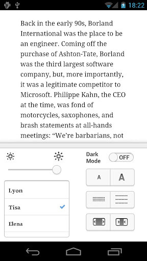 Screenshots from Instapaper