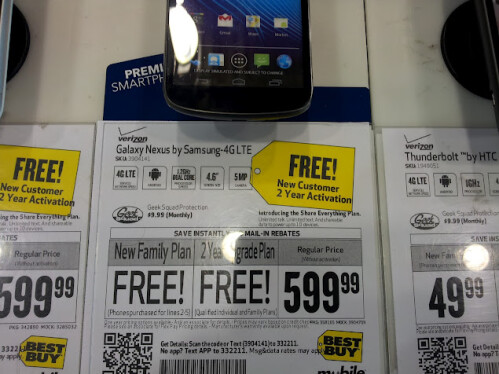 Verizon Samsung Galaxy Nexus is now absolutely free on contract