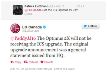 No ICS for you says LG Canada about the LG Optimus 2X