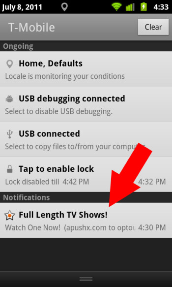 Example of Airpush ad imitating Android notification