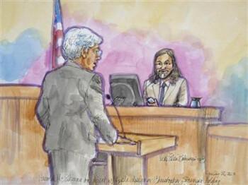 Courtroom sketch of Christopher Stringer's testimony