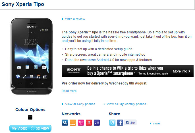 The Sony Xperia tipo can now be pre-ordered in the U.K. from Carphone Warehouse  - August 8th said to be launch date for Sony Xperia tipo in U.K.