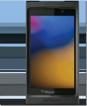 Rendering of the modified BlackBerry 10 Dev Alpha phone