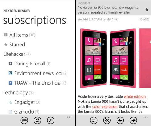 Nextgen Reader - Windows Phone - $1.99