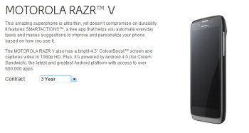 The Motorola RAZR V is now available in Canada from Bell