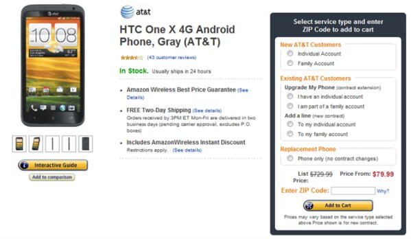 Amazon brings the price of the AT&T HTC One X to an all-time low of $79.99 with a contract