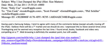 Email used as evidence reveals how Steve Jobs was receptive toward a 7 inch tablet