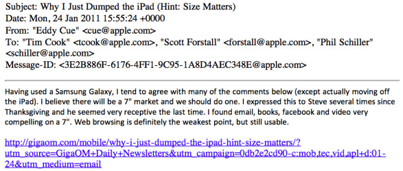 """Email used as evidence reveals how Steve Jobs was receptive toward a 7 inch tablet - Evidence in Apple v. Samsung trial shows Steve Jobs """"receptive"""" to idea of 7 inch tablet"""