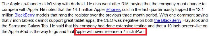 """The way it was, Phone Arena October 19th 2010 - Evidence in Apple v. Samsung trial shows Steve Jobs """"receptive"""" to idea of 7 inch tablet"""