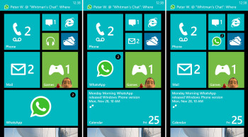 The new small, medium, large Live Tiles for the Start Screen