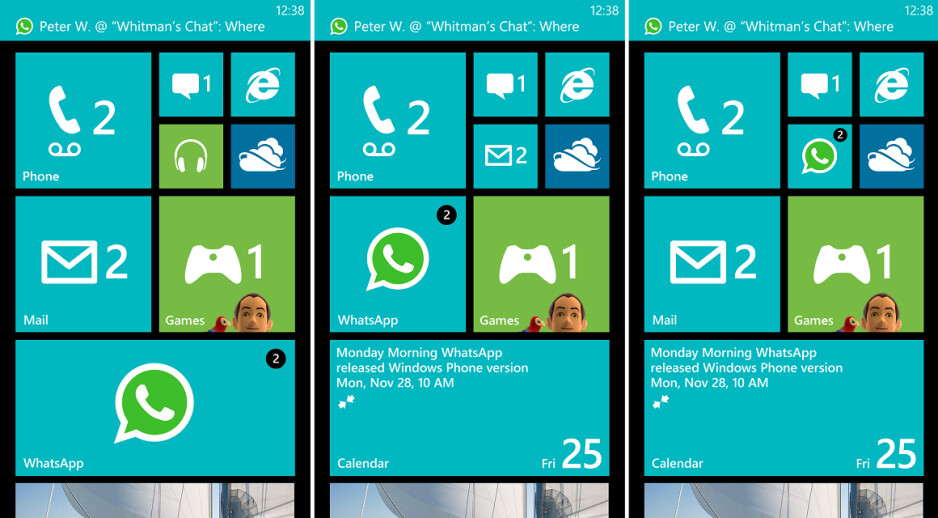 The new small, medium, large Live Tiles for the Start Screen - Image of WhatsApp for Windows Phone 8 leaks