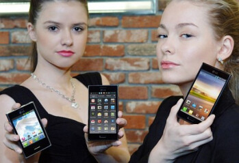 From left to right, the LG Optimus L3, L5 and L7
