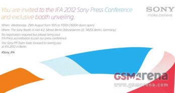 Invitation to Sony's pre IFA event