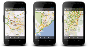 Traffic conditions for San Jose, Panama City and Bogota on Google Maps for Android