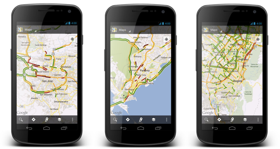 Traffic conditions for San Jose, Panama City and Bogota on Google Maps for Android - Real time traffic added to Google Maps for over 130 new locations