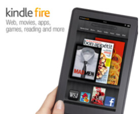 A female hand holds the Amazon Kindle Fire
