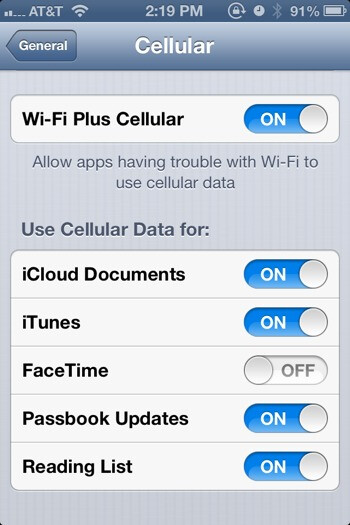 iOS 6, beta 4 features a setting for Wi-Fi Plus Cellular