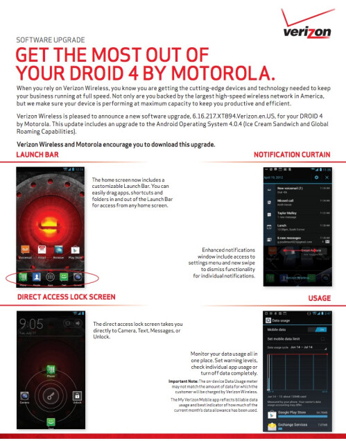 Droid 4 change list