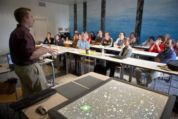A workshop for the DiamondTouch which is at the far right of the picture